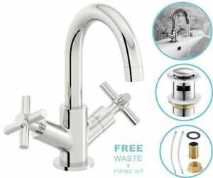 Modern Cross Head Bathroom Sink/Basin Brass Chrome Mono Basin Mixer Tap & Waste