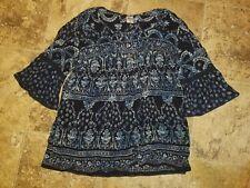 Nwt Womens Bila Shirt 3/4 Sleeve Peasant Blouse Top Cold Shoulder Navy Blue SM L