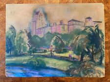 Bernard Gussow WPA Oil Pastel Painting Central Park New York City Newark 1920s