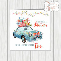 Personalised Christmas Car Card Mum & Dad Husband Son Daughter In Law Neighbours