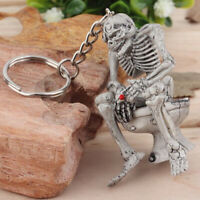 1pcs Men Creative Alloy Keyfob Car Keyring Keychain Key Chain Skull Toilet Gift@