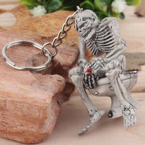 1x Cool Men Gray Rubber Keyfob Car Keyring Keychain Key Chain Skull Toilet Gift
