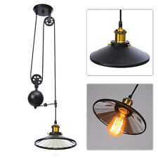 Vintage Edison Industrial Pulley Pendant Lights Adjust Wire Retractable Lamp E27