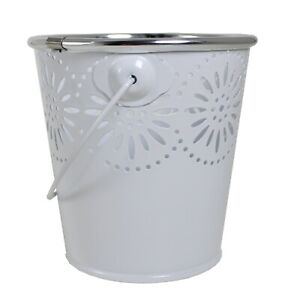 Easter Baskets, Buckets, Accessories - Mini Metal Bucket White