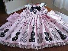 Angelic Pretty Sweet Lolita Pink & Black Violin Music Note Print JSK Dress Used