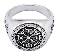 Viking Jewelry Odin Symbol Vegvisir Gungnir Runic Compass Ring for Men 7.5