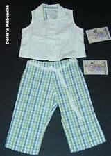 NEW NWT PLUM PUDDING Spring Yacht Club 2pc White Shirt Plaid Pants Set 3T