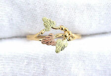 Pure 10Kt Tri Color Grape Leaf Black Hills Type Gold Ring Size 5.75 EBS572