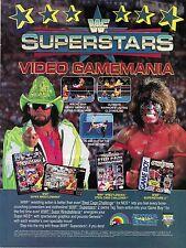 1992 WWF Original Video Game Magazine Ad Super Nintendo Sega Game Boy WWE Arcade