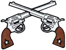 Six guns pistols cowboy western outlaw embroidered applique iron-on patch G-67