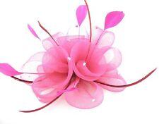 Fascinator Haarklammer Ansteckblume Blume Federn Strass Haarschmuck helles ROSA