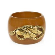 Roberto Cavalli Caramel Brown Resin bangle Bracelet gold harware horses charm