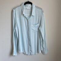 Nordstrom Abound Womens Leona Blue Stripe Mens Style Button Down Shirt Sz M NWOT