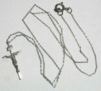 Vintage 925 Sterling Silver Jesus Cross Crucifix Pendant Necklace