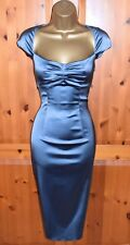 COAST Exquisite Blue Grey Satin Wiggle Galaxy Cocktail Dress UK 10  Occasion