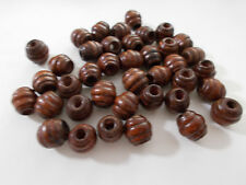 100pcs 10mm WOODEN Grooved Round Beehive Beads -  BROWN Craft Wood Jewellery