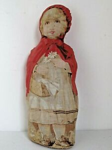 Antique Arnold Printed Lithographed Cloth Red Riding Hood Doll Pat. 1892