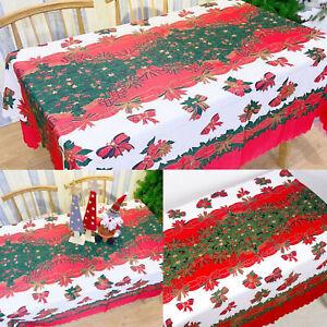 Christmas Tablecloth Rectangle Table Cover Cloth Xmas Dinner Party Home Decor