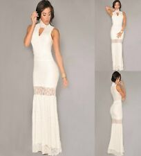 Sz S 8 10 White Lace Sleeveless Formal Cocktail Gown Party Maxi Long Dress