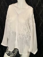Women's Jeans By Buffalo Embroidered White Blouse Womens Sz Medium Long Sleeve