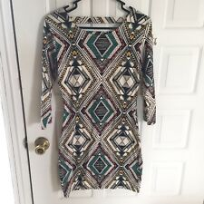 Billabong Tibal Print Boho Dress With Back Cut Out 3/4 Sleeve Size Medium (49)