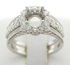 DIAMOND SEMI MOUNT HALO ENGAGEMENT RING 1.22 CT DESIGNER 18K
