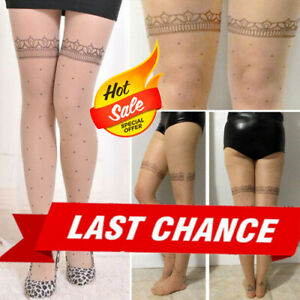 Womens Faux Garter Thigh Hi Dots Sheer Skin Costume Cosplay Pantyhose Stockings