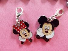MICKY & MINNIE MOUSE cute enamel clip on lobster clasps for charm bracelets