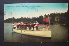 RAVENSWOOD White Lake, Mich. P.O. Montague, postcard, 1907, Cathrine boat, AS IS