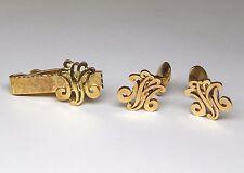 Estate Custom VM Initials 14kt Yellow Gold Cufflinks & Tie Clasp Clip Set V M