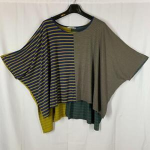 ALEMBIKA Lagenlook Navy Gold Striped Mixed Fabric Jersey SS Top Size S/M