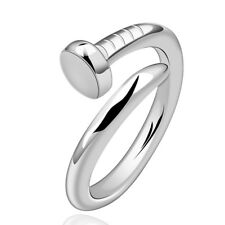 18K White Gold Plated Nail Band Plain Screw Ring Resizable B130