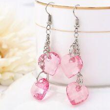 Fashion Pink Lovely Earrings Sweet  Red Heart Stud Earrings For Princess