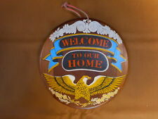 WELCOME to our Home Eagle Wood Sign Plaque Wall Hanging Enesco