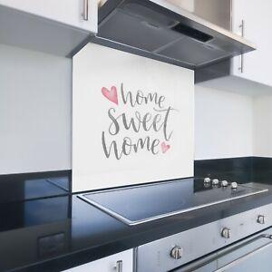 Toughened Printed Kitchen Glass Splashback - Bespoke Sizes - Home Sweet Home 556