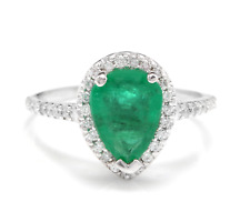 2.20Ct Natural Emerald & Diamond 14K Solid White Gold Ring