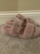 UGG Womens Fuzz Yeah Slide Slipper US 11 Pink Lamb Sheep Fur Shearling 1104662