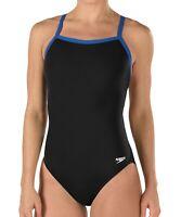Speedo Womens Swimwear Black Blue Size 10 /36 Contrast Flyback Swimsuit $69- 607