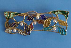Brosche Unikat Antik Design Fensteremaille Echt 750 Gelbgold 10g Perlen