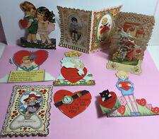 Lot Of 8 Antique Diecut Valentines So Adorable 1 3-D Pretty