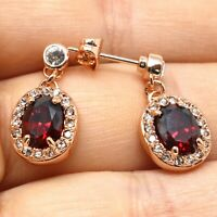 Large 1Ct Oval Red Garnet Earrings Women Wedding Jewelry 14K Rose Gold Plated