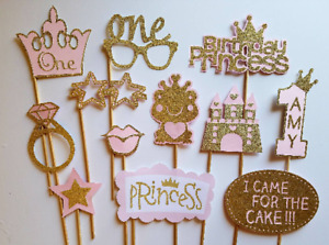 Pink and Gold Princess Photo Booth Props. Choose your number! And custom name!