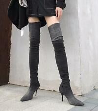 Womens Denim Over Knee Stretch Riding Boots Pointed Toe Heels Jeans Shoes G586
