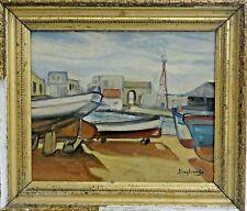 Ancien tableau huile bateaux carénage signé