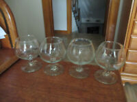 """Lot of 4 Footed Brandy Sniffers Large Crystal 5"""" Footed"""