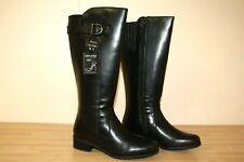 Comfort Plus Negro de cuero genuino de la rodilla Botas altas planas tamaño 3 Wide Fit