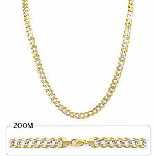 "6.50mm 20"" 31.00gm 14k Gold Two Tone Men's Heavy Cuban White Pave Chain Necklace"