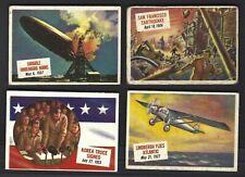 1954 LOT OF 4 TOPPS SCOOP SAN FRANCISCO EARTHQUAKE, LINDBERGH, HINDENBERG, KOREA