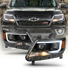 Black 2015-2018 Chevy Colorado LED Tube DRL Dual Projector Headlights Headlamps