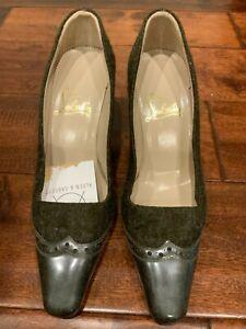 Christian Louboutin Gray Boiled Wool Wingtip Heels, Size 6.5 (US) 36.5 (EUR)